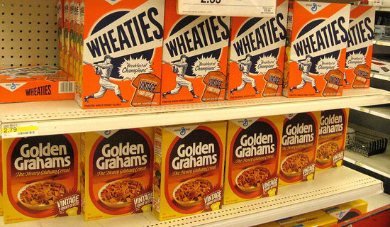 Wheaties and Golden Grahams retro packaging