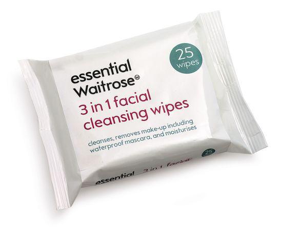 Essentia Waitrose 3 in 1 Facial Cleansing Wipes